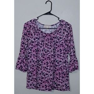 S Michael Kors Pink Floral Bell Sleeve Top